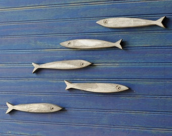 Minnow Fish School Set of Five Fishes Smelt Sardines Guppies Fish Decor Wooden Fish School