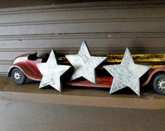 Star Set Wooden Three Silver Metallic Rustic Primitive