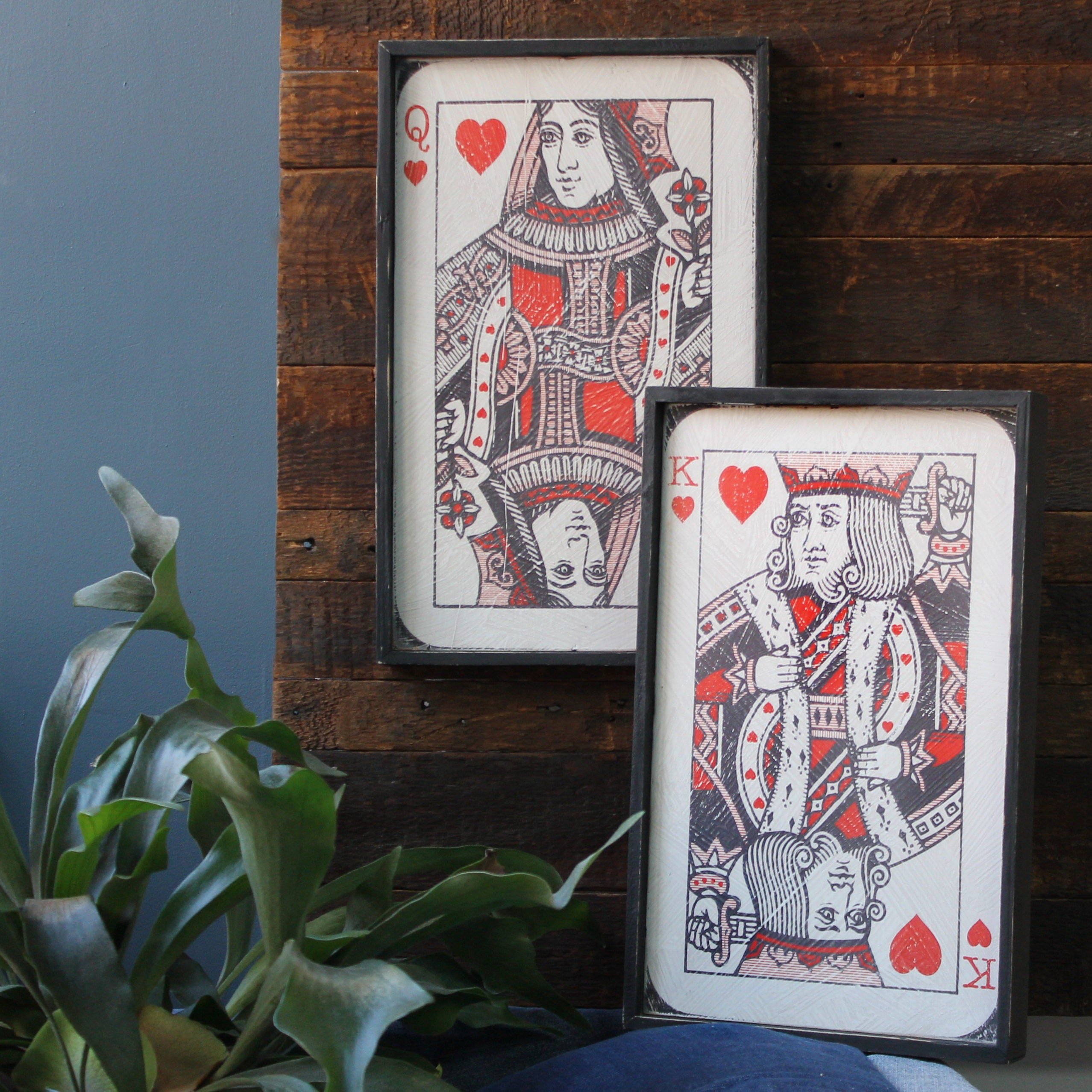 Framed Playing Cards Queen of Hearts King of Hearts Wood Prints King and  Queen Set 2 piece Poker Room Casino Wall Art Playing Card Art