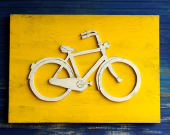 Bicycle Decor Wall Art Bike Wall Decor Cyclist Gift Bicycle Sign Large Wooden Hipster Gift