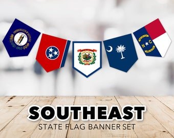 Southeast Flag Banner Set -- United States, State Flags, Kentucky, Tennessee, West Virginia, South Carolina, Printable, Instant Download