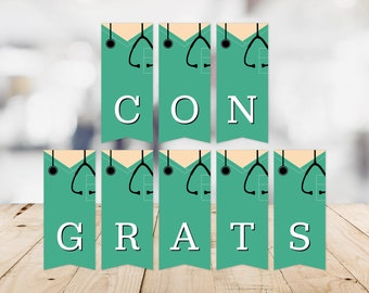 Scrubs Congratulations Banner -- Congrats, Graduation, Green Scrubs, Nursing School, Med School, RN, BSN, MSN, Printable, Instant Download