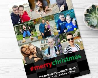 Social Media Christmas Card -- Top 9, Best Nine, Instagram Inspired, Hashtag, Merry Christmas, Holiday, Photo Grid, Printable, Digital File