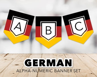 German Flag Banner Set -- Flag of Germany, Oktoberfest, Deutsch, Deutschland, Germany Banner, Schwarz Rot Gold, Printable, Instant Download