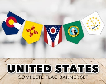 United States Flag Banner Set -- State Flags, Flags of the US, US States, District of Columbia, US Territories, Printable, Instant Download