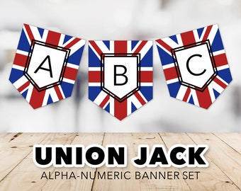 Union Jack Flag Banner Set -- United Kingdom, Union Flag, Great Britain, UK, Party Banner, Study Abroad, London, Printable, Instant Download