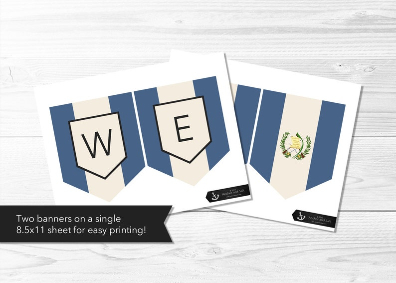 Instant Download Guatemalan Flag Banner Homecoming Welcome Home Guatemala Flag Banner Printable LDS Missionary Flag of Guatemala
