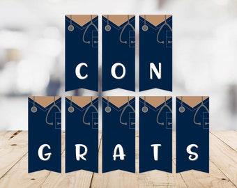 Scrubs Congratulations Banner -- Congrats, Graduation, Blue Scrubs, Nursing School, Med School, RN, BSN, MSN, Printable, Instant Download