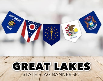 Great Lakes Flag Banner Set -- United States, State Flags, Ohio, Michigan, Indiana, Illinois, Wisconsin, Printable, Instant Download
