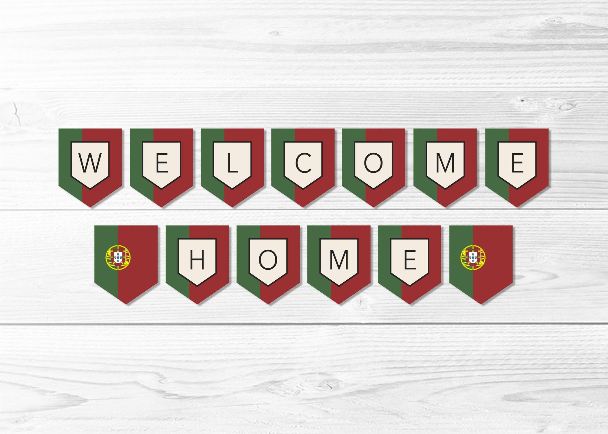 Welcome Home Portugal Flag Banner Portuguese Flag Banner | Etsy