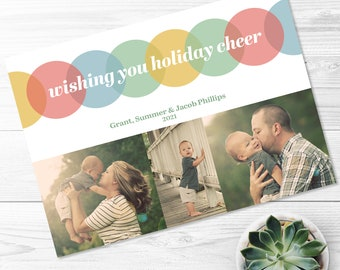 Holiday Cheer Card -- Wishing You Holiday Cheer, Holiday Card, Christmas Card, New Years Card, Pastel, Photo Card, Printable, Digital File