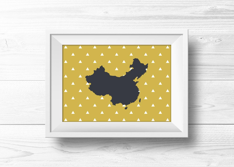 China Wall Art Gold and Gray Gray and Yellow Art Mustard | Etsy