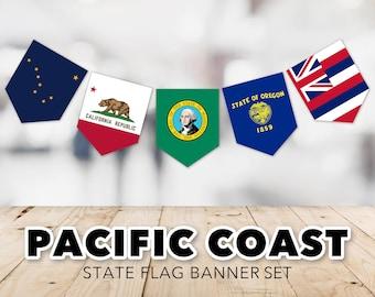 Pacific Coast Flag Banner Set -- United States, State Flags, Washington, Oregon, California, Alaska, Hawaii, Printable, Instant Download