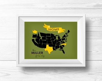 Army Family USA Map Wall Art -- Custom Wall Decor, Military Family, Army Colors, Green & Gold, Where We've Lived, Home State, Travel, Moving