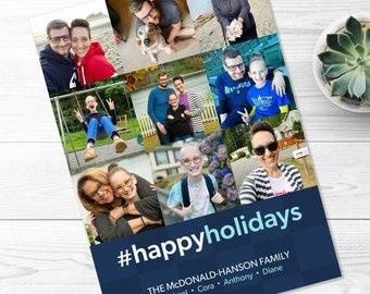 Social Media Holiday Card -- Top 9, Best Nine, Instagram Inspired, Hashtag, Happy Holidays, Christmas, Photo Grid, Printable, Digital File