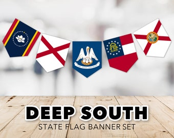 Deep South Flag Banner Set -- United States, State Flags, Bible Belt, Florida, Georgia, Alabama, Mississippi, Printable, Instant Download