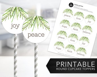 Pine Tree Cupcake Toppers -- Christmas Pines, Holiday, Peace, Love, Joy, Hope, Faith, Believe, Round Labels, Printable, Instant Download