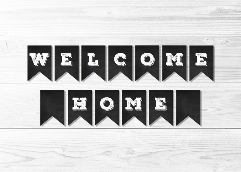 photo regarding Printable Welcome Home Banner named Welcome Residence Chalkboard Banner -- Welcome House Banner, LDS Missionary, Homecoming Celebration Banner, Black White, Printable, Immediate Down load