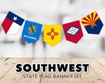 Southwest Flag Banner Set -- United States, State Flags, Arizona, Arkansas, New Mexico, Oklahoma, Texas, Printable, Instant Download