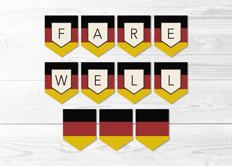 picture relating to Printable German Flag titled Farewell Germany Flag Banner -- German Flag Banner, Flag of Germany, Farewell Celebration, LDS Missionary, Printable, Prompt Down load