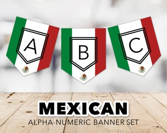 Mexican Flag Banner Set -- Flag of Mexico, Cinco de Mayo, Dia de los Muertos, Red, Green, Viva México, Football, Printable, Instant Download
