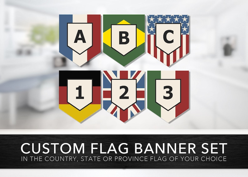 Custom Country Flag Banner Set -- Create Your Own Flag Banner, Country  Flag, Study Abroad, Language Classroom Teaching Aide, Printable Files