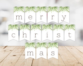 Merry Christmas Banner -- Pine Tree, Christmas Tree, Outdoors, Nature, PNW, Greenery, Green and White, Holiday, Printable, Instant Download