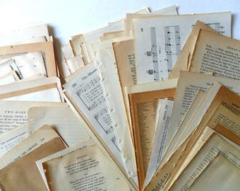 80 book pages | vintage paper | paper ephemera | vintage book pages for collage | paper supplies | junk journal supplies | vintage paper