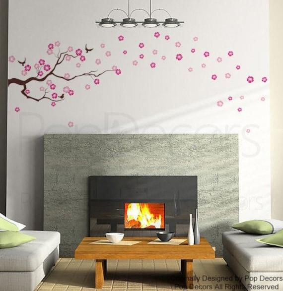 a68dd9d32b02 Floral Wall Decal Flowers Vinyl Wall Sticker Flower Pink Mural | Etsy