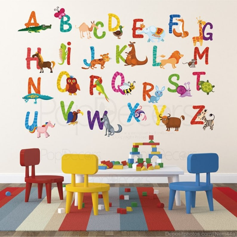 Nursery Abc Alphabet Wall Stickers Children Playroom Wall Etsy