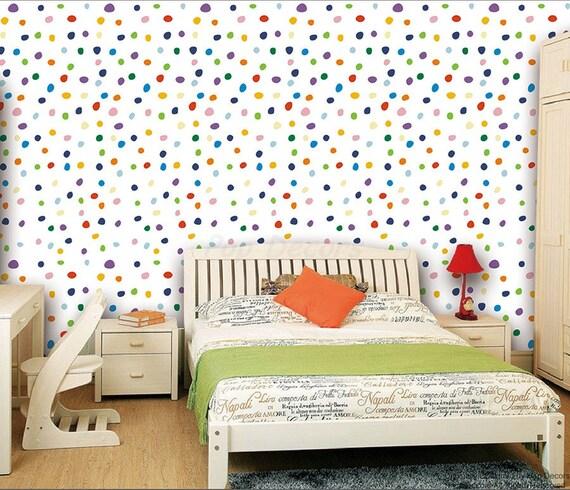 kids room wall decors colorful polka dots wallpaper modern etsy rh etsy com Polka Dot Wallpaper Border Colorful Polka Dot Wallpaper