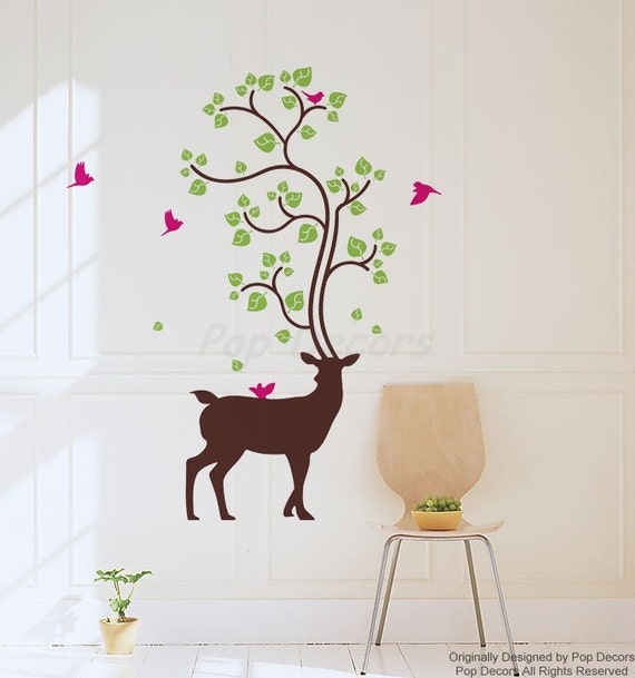 deer animal removable wall stickers plants on deer vinyl wall | etsy