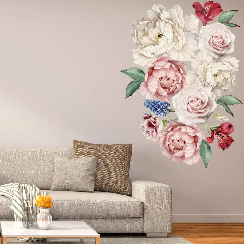 peony flowers vinyl wall sticker peel and stick wall art   etsy
