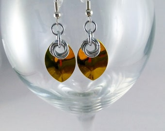 Dragon Scale and Mobius Flower Earrings