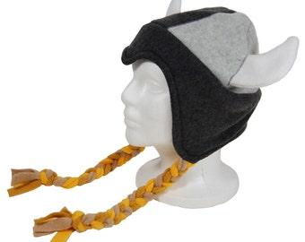 Fleece Viking Helmet Hat With Braids