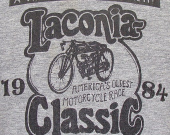 Vintage 1984 Laconia classic motorcycle race muscle t shirt L