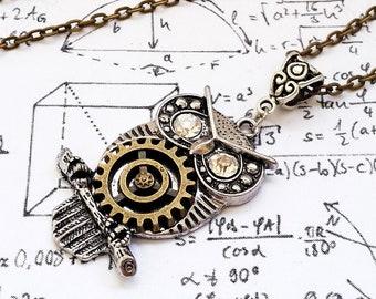 Gothic Steampunk Silver owl Bronze clock gear cog setting crystal eyes charm pendant necklace