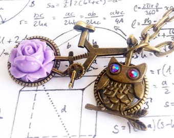 Romantic Vintage Bronze Purple Rose Flower and Owl Bicycle pendant link chain necklace