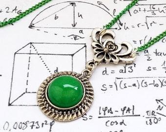 Silver Filigree Natural Green Stone cabochon charm pendant necklace
