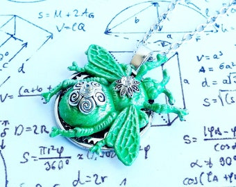 Gothic steampunk Filigree Bee insect clock cog gear Green Patina crystals charm pendant necklace