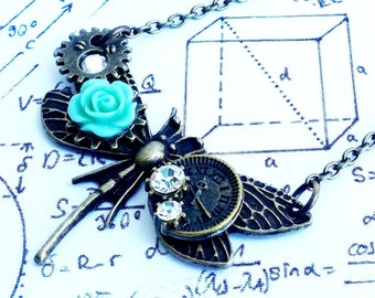 Gothic Bronze Dragonfly insect wings steampunk Crystal Rose Flower Clock Gog Gear charm pendant necklace
