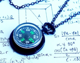 Gothic Steampunk Black Real Authentic Working Compass Clock Pocket watch charm pendant necklace