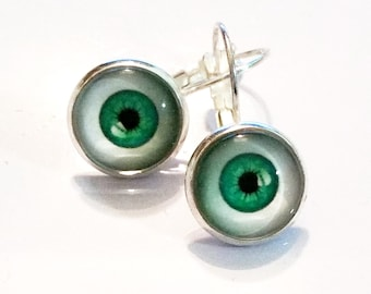 Eat Your Greens! - Gothic Steampunk Eye Ball Dangle Drop Earrings Israel Hand made