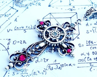 Gothic Steampunk Silver and Fuchsia Pink Filigree Clock Cog Gear Cross Jesus Religious charm pendant necklace