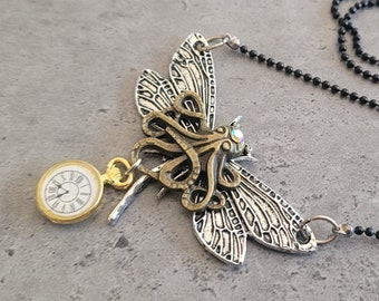 Atlantica - Gothic Steampunk Nautical Sea Octopus with Insect Dragonfly wings cogs gears charm pendant necklace
