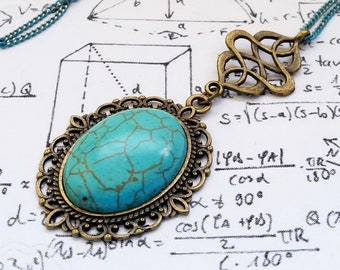 Stone Cold #2 - Gothic Bronze Filigree Oval Turquoise Stone cabochon charm pendant necklace