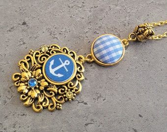 Sea of Gold - Gothic Steampunk Gold and Baby Blue Filigree Anchor Cabochon charm pendant necklace