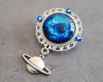 Space Jam - Silver Filigree Blue Nebula space cabochon brooch pin