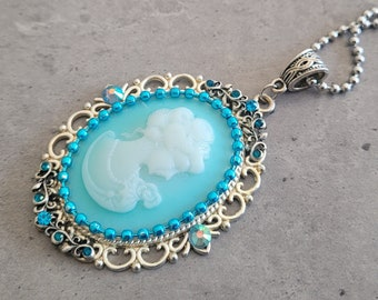 Skyfall - Victorian Lady Cameo Baby blue cabochon charm pendant necklace