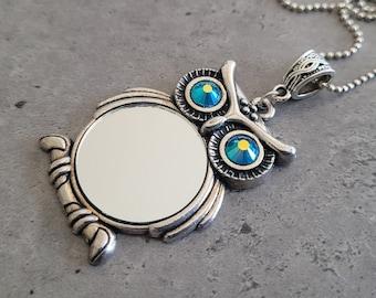 Gothic Steampunk Silver owl Mirror setting Swarovski crystal eyes charm pendant necklace